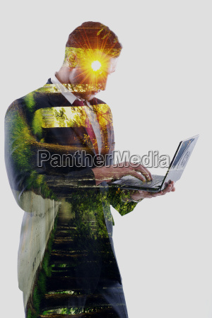 double exposure of business man who