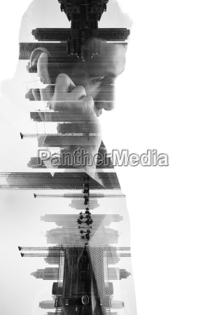 double exposure of business man with
