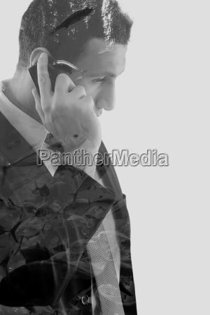 double exposure of business man and