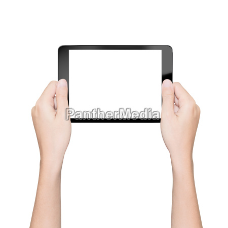 hand holding tablet isolated white with