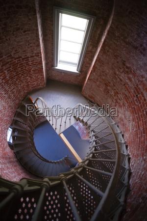 spiral staircase metal brick architecture historic