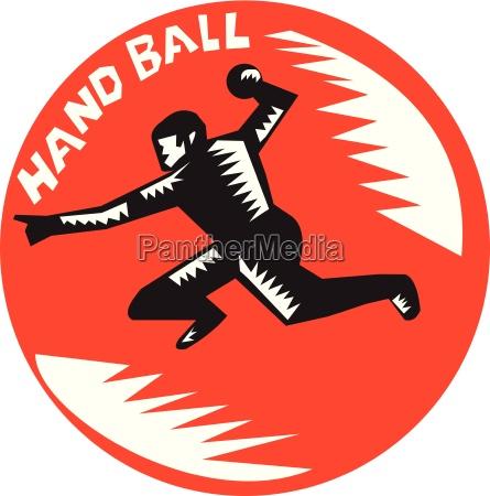 handball player jump striking circle woodcut