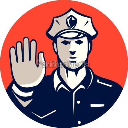 traffic policeman hand stop sign circle