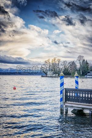lake tutzing with landing bridge
