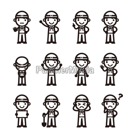 construction worker in different poses