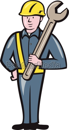 construction worker spanner isolated cartoon