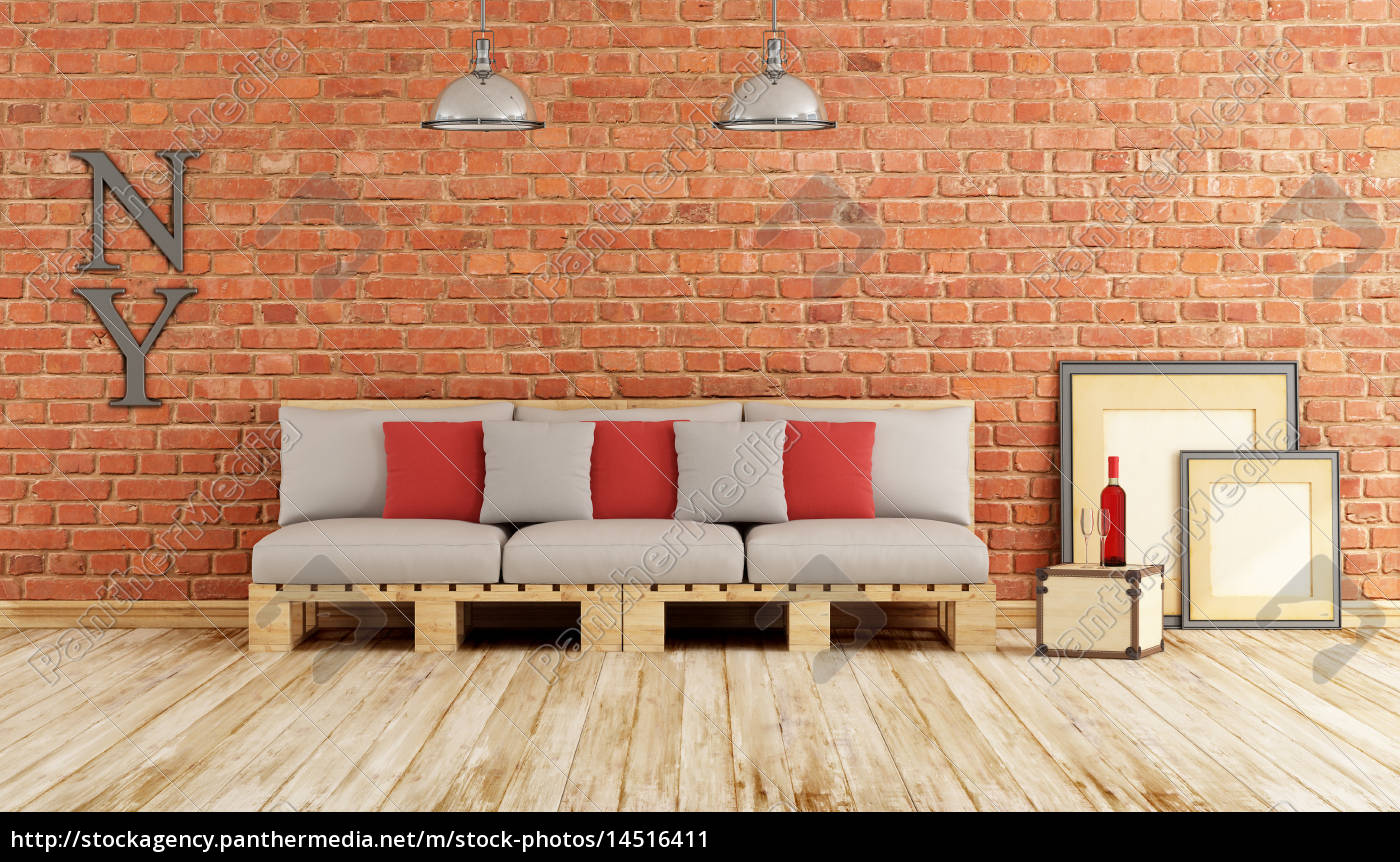 Living Room With Pallet Sofa Stock Photo 14516411 Panthermedia Stock Agency