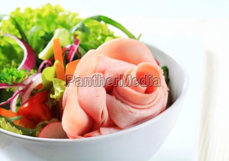 fresh salad with ham
