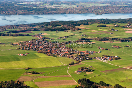 aerial view of muensing and lake