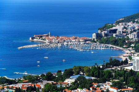 aerial view of budva montenegro on