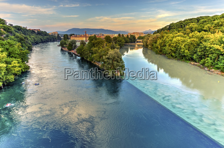 rhone and arve river confluence geneva