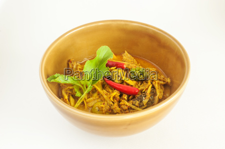 curry spicy vegelable and fish grill