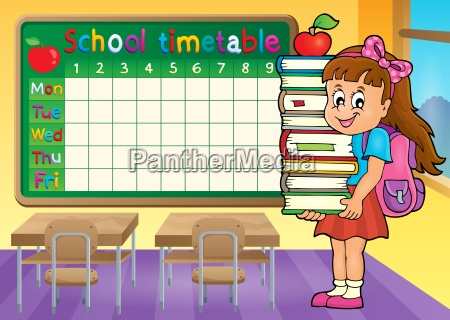 school timetable with girl holding books