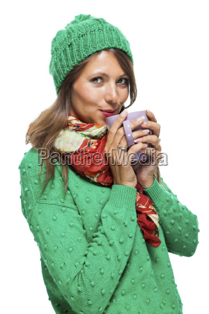 brunette young woman with big coffee