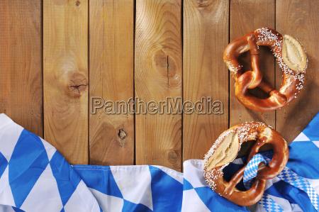 bavarian flag with pretzels