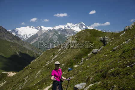woman in hiking clothes in front
