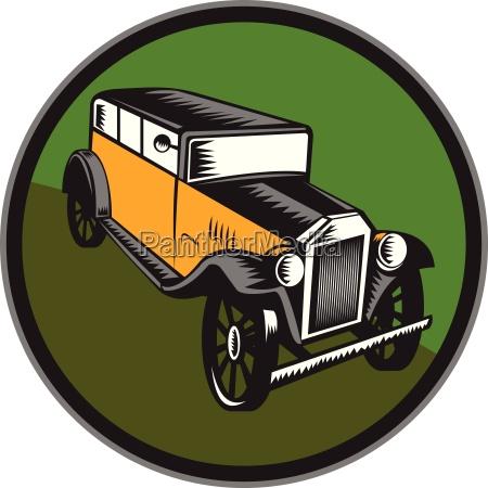 vintage car hi angle circle woodcut