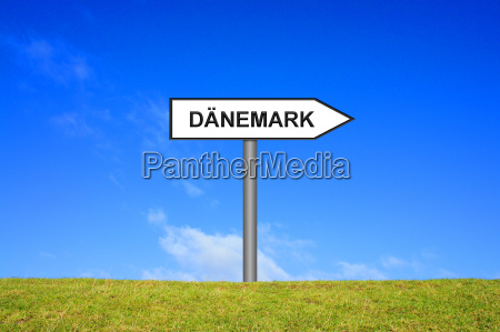 signpost showing denmark