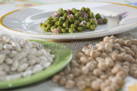 peas and bacon and legumes