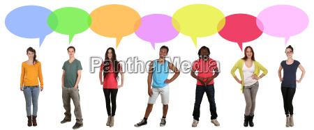 multicultural young people group talking with
