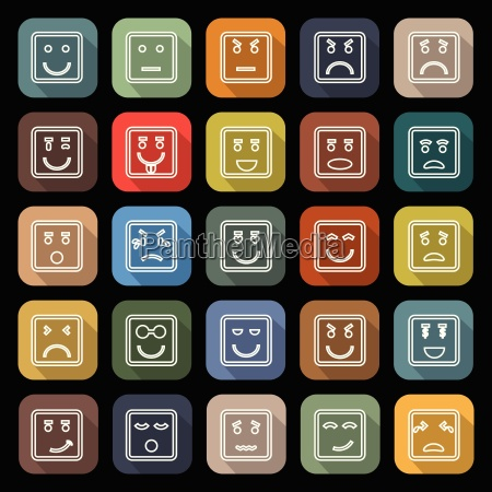 square face line flat icons with