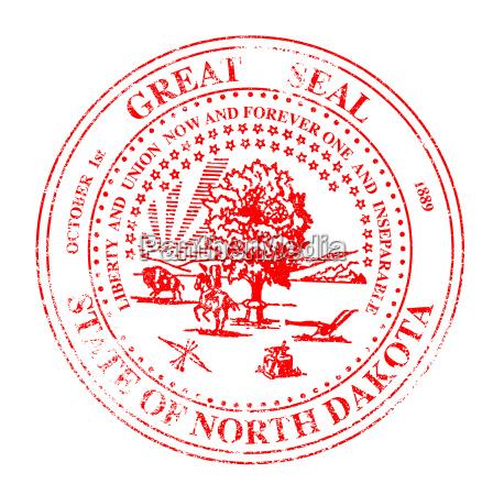 north dakota seal rubber stamp