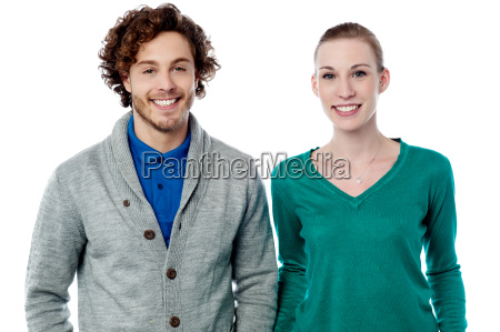happy couple isolated over white