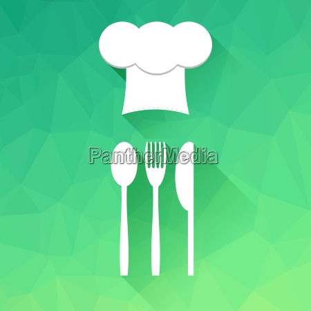 cheef hat icon and fork spoon