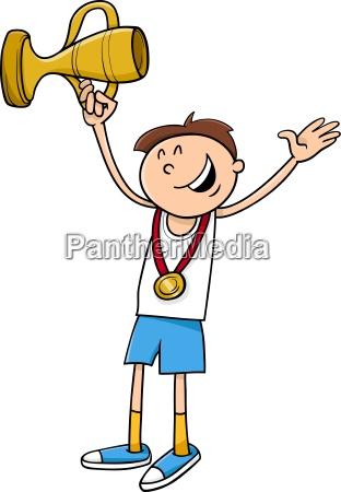 boy winner cartoon illustration