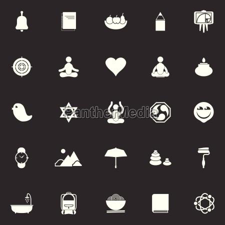 zen society icons on gray background