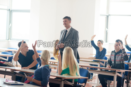 group of students with teacher on