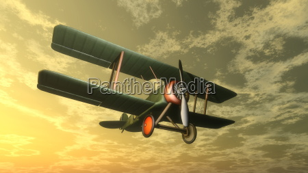 biplane by sunset 3d render