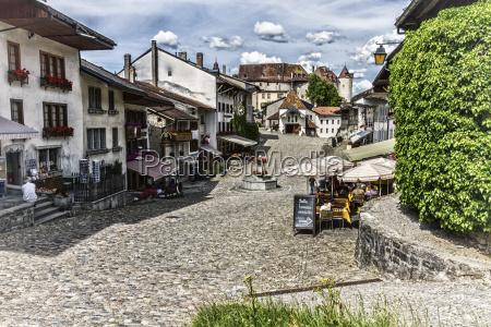 main street in gruyeres village fribourg