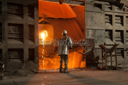 in the steelworks a sample is