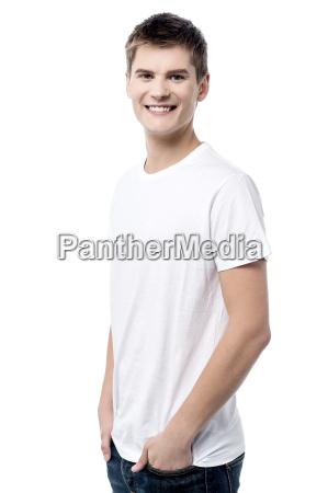 young male posing sideways