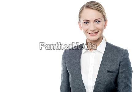confident business woman over white