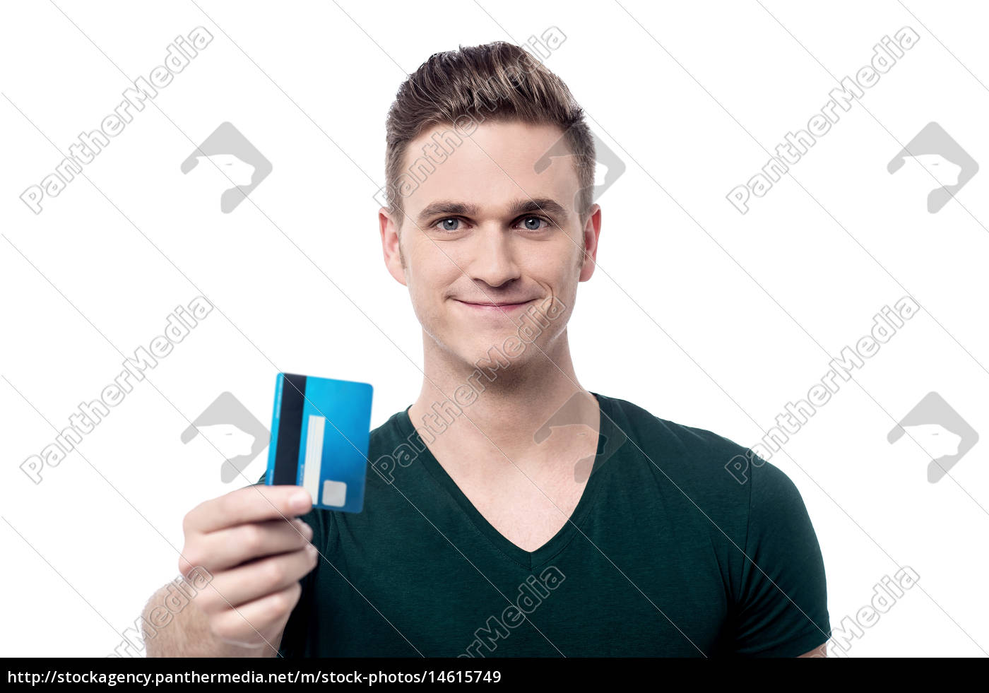 happy, male, offering, his, credit, card - 14615749