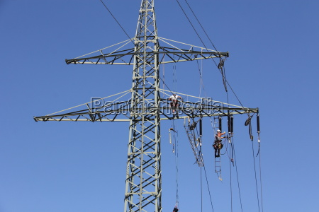 work at the high voltage mast