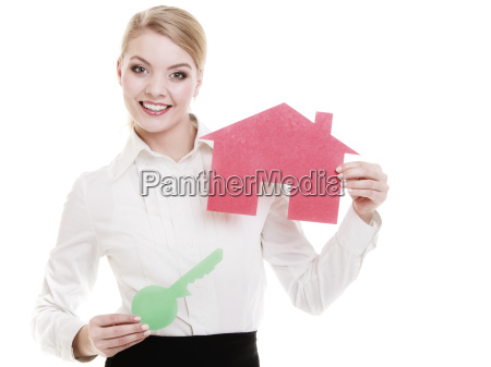 business woman real estate agent holding
