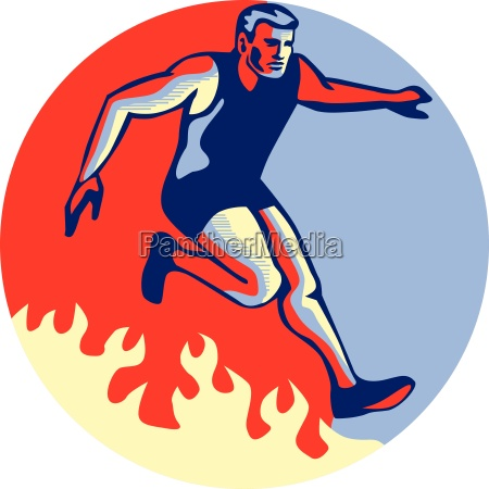 obstacle racing jumping fire retro
