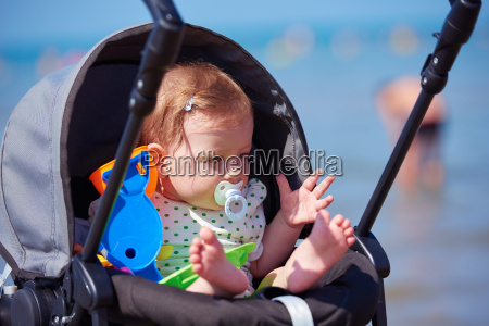 portrait of baby in carriage