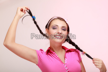 childish woman infantile girl with pigtail