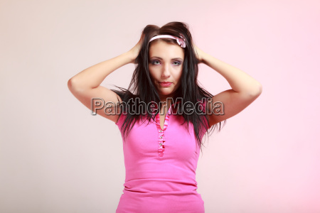 childish young woman infantile girl in