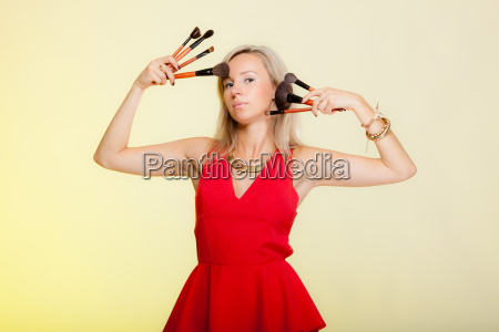 beauty procedures woman holds make up