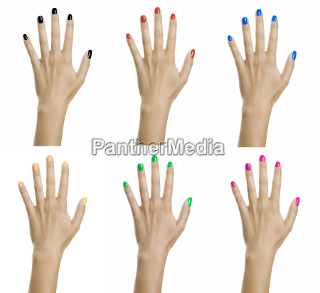 woman hands with colorful nail polish