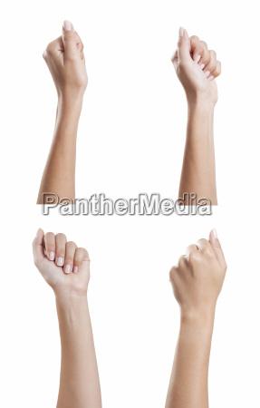 various womens hands fist