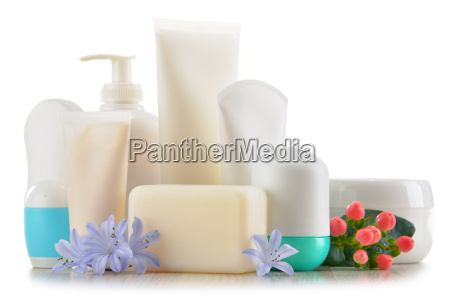 composition with containers of body care