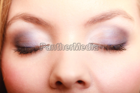 closeup of beautiful female eyes with