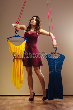 addicted to shopping woman girl marionette