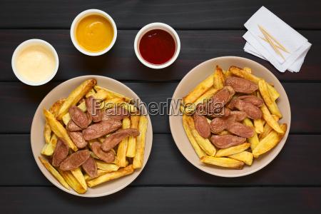 salchipapas fries with sausage south american